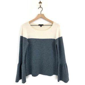 Ann Taylor Colorblock Bell Sleeve Wool Sweater M
